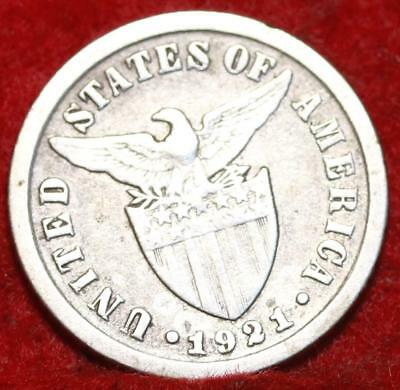 1921 Philippines 10 Centavos Silver Foreign Coin