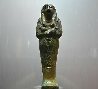 ANCIENT EGYPT ANTIQUE  EGYPTIAN  green faience USHABTI 24 cm 1500–300 BC
