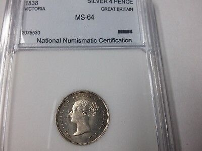 1838 Great Britain Victoria Silver 4 pence- Maundy