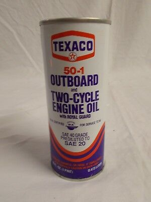 Vintage TEXACO Outboard & 2-Cycle Engine Motor Oil 1-Pt Can