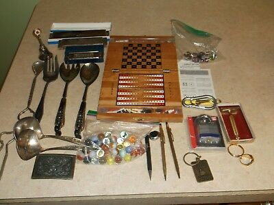 Nice Junk Drawer Lot With Marbles, 3 Harmonicas (One a Hohner), Old Razor & More