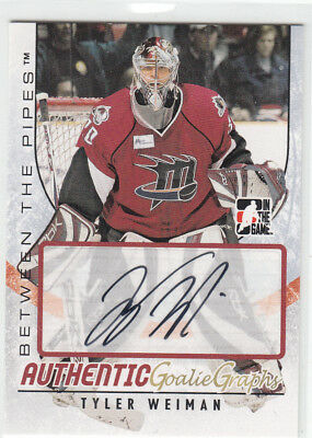 07/08 Itg Between The Pipes Tyler Weiman Autograph Auto
