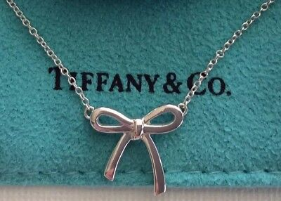 """Tiffany & Co Mini Bow Pendant Chain Necklace Sterling Silver 925 16"""" With Pouch"""