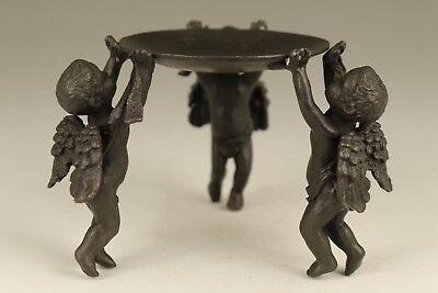 Rare Old bronze hand carving Angle statue figure Oil Lamp Candle stick Good Art