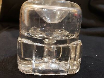 Antique Glass Square Base Donut Top Funnel Inkwell With Bottom Plug - Circa 1900