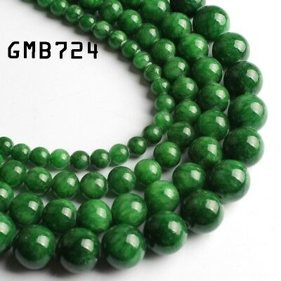 Green Jade Stone Round Loose Beads For Jewelry Making 15.5inches DIY Bracelet