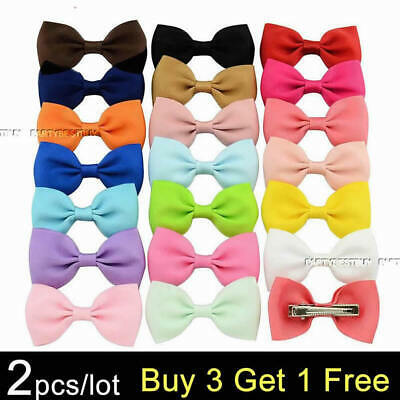 2PCS Handmade Bow Hair Clip Alligator Clips Girls Ribbon Kids Sides Boutique