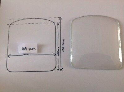 Alarm Clock Glass Convex Arched Rectangle 100x110mm Ex Clockmakers Spare Parts