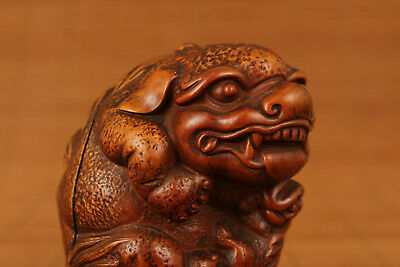 Chinese Old Boxwood Hand Carved Kirin Bring money Figure Statue Home Decoration