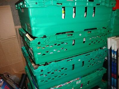 5 x Deep Bail Arm Crates / Bale Arm Supermarket Plastic Boxes 60-40-16cm