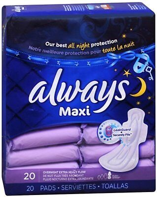 Always Maxi Pads Overnight Extra Heavy Flow 20 Each (Pack of 9)