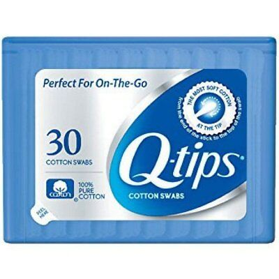 Q-tips Cotton Swabs Travel Size Refillable 30 Count (Pack of 36)