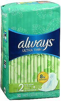Always Ultra Thin Pads Long Super Flexi-Wings - 6 packs of 32, Pack of 4
