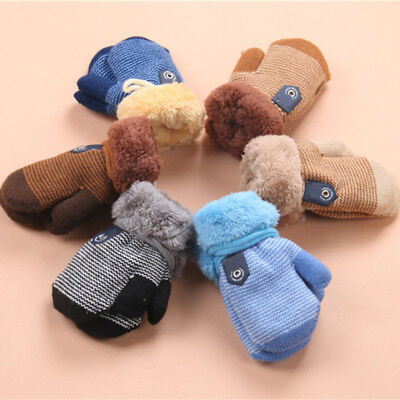 Baby Kids Winter Warm Soft Knitted Fluffy Cold WeatherHot Gloves Fingers Mittens