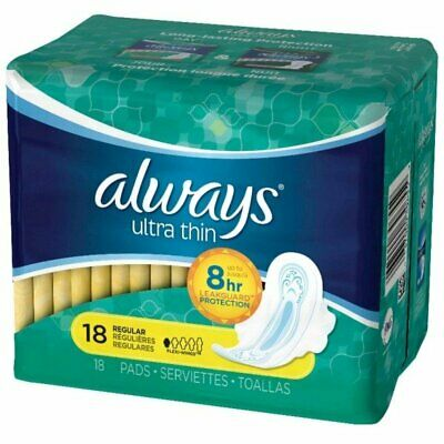 Always Ultra Thin Pads Regular Flexi-Wings 18 ea (Pack of 6)