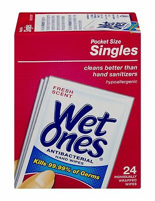 Wet Ones Antibacterial Hand Wipes Fresh Scent Singles 24 Count (Pack of 10)