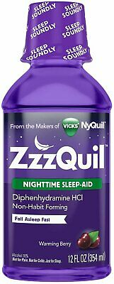 ZzzQuil Nighttime Sleep-Aid Liquid, Warming Berry Flavor 12 oz (Pack of 9)