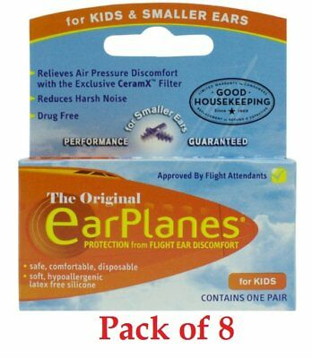 EarPlanes Earplugs Children For Kids And Small Ears Disposable 1 Pair, Pack of 8