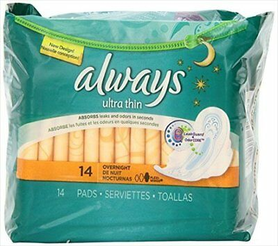 Always Ultra Thin Pads, Overnight 14 ea (Pack of 12)