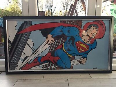 Vintage Art Deco Superman Framed Picture 120cm x 64cm.