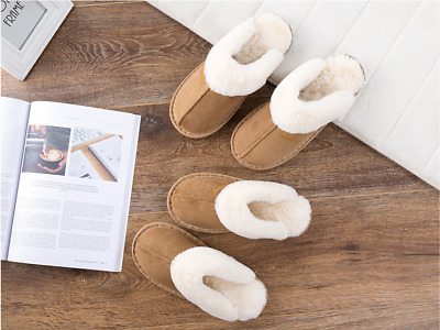Men Women Unisex Suede Leather Slippers Non Slip Sole Soft Plush Lining Winter