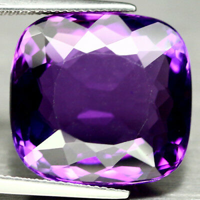 23.80 CT AAA! PURPLE CLR CHANGE TO PINK BRAZIL AMETHYST CUSHION 18 X 19 mm.