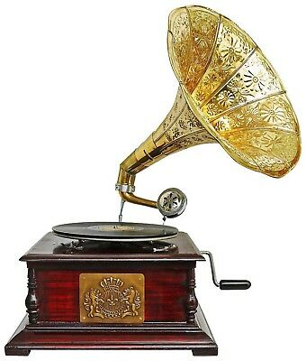 Antique style gramophone complete with horn  decorative wooden base (m2)