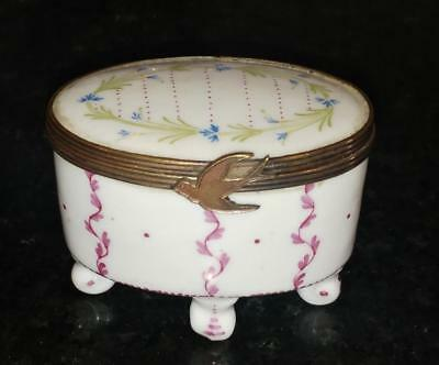 Exquisite Sevres Style Porcelain Patch Box with Bronze Mount with Swallow