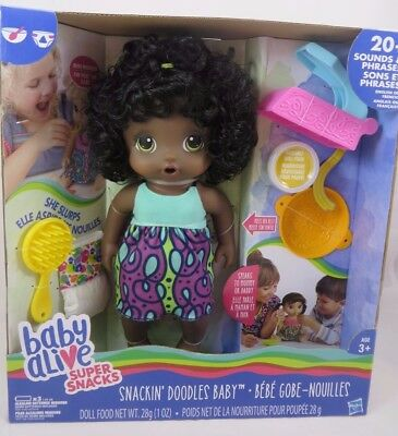 Baby Alive Doll Snacks Snackin' Noodles African American Talks Poops Food RARE