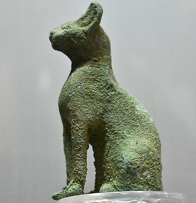 ANCIENT EGYPT ANTIQUE Egyptian bronze cat BASTET 1500–300 BC))