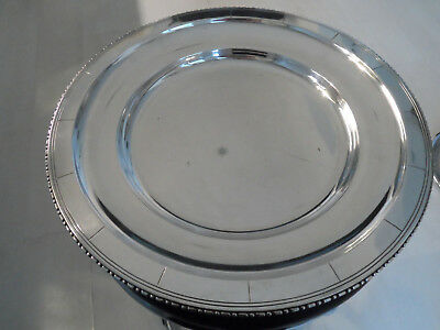 Art Deco French Good Quality Heavy Silver Plate Round Serving Dish Stamped B B