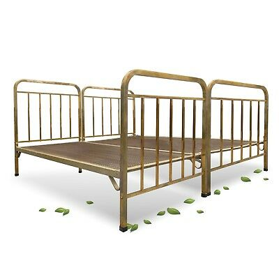 antikes Bett Messing Jugendstil Gitterrost gold Messingbett