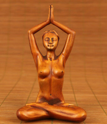 chinese Old Art boxwood Handcarving beautiful girl statue home decoration