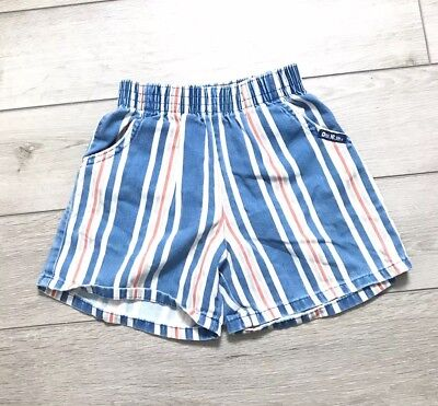 Vintage Oshkosh Striped Shorts Boy 4T Short Elastic Waist Blue Orange White