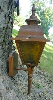 Vintage Outdoor Carriage Lamp Light Fixture, Copper Color W/ 1970's Amber Panel