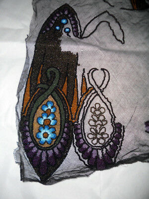 Large 1920s SAMPLE WORK of Bead and Embroidery Work   Unfinished Example