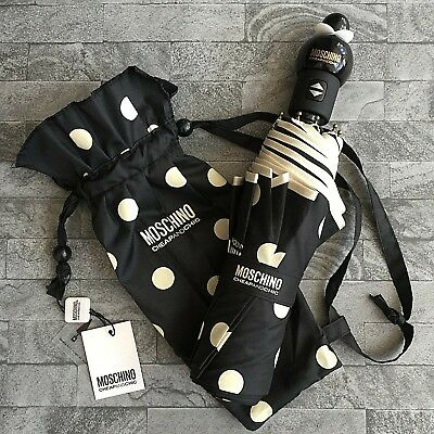 Moschino Cheap & Chic Polka Dot Automatic Compact Umbrella With Storage Bag