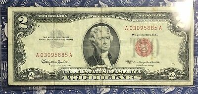 1963 $2 Dollar Bill Old Us Paper Money Currency Red Seal Collector Note. 5885A