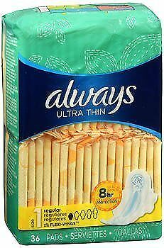 Always Ultra Thin Pads with Flexi-Wings Regular - 6pks of 36ct, Pack of 4