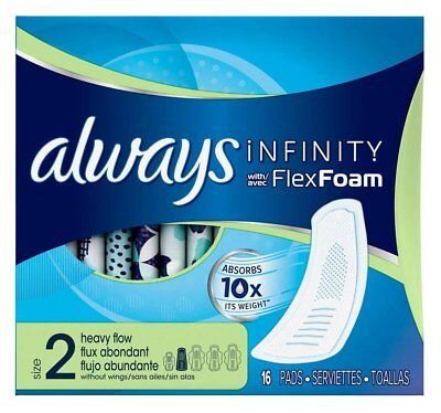 Always Infinity with Flex Foam Heavy Flow without Wings 16 Pads (Pack of 6)