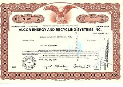 Alcor Energy And Recycling Systems, Inc. / Lehman Brothers
