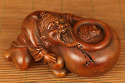Valuable Japanese old Boxwood ELDER FISH Statue Netsuke Collection home deco
