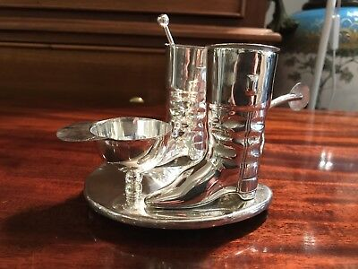 Silver Plate Novelty Equestrian Salt, Pepper, Mustard On Horse Shoe Tray.