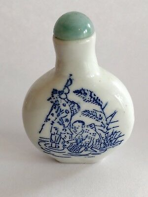 Antique Chinese Blue and White Porcelain Snuff Bottle signed