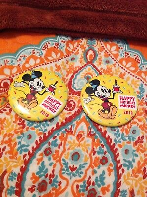Happy 90th Birthday set of TWO Mickey Mouse 2018 Disney Parks Exclusive Button