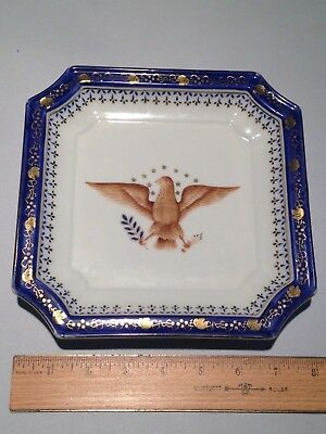 ANDREA BY SADEK Federal Square plate with American Eagle hand painted