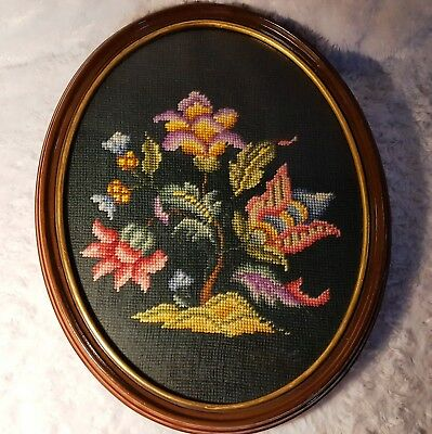 "ANTIQUE Victorian 15.5"" FANCIFUL Floral-Flower NEEDLEPOINT in OVAL WOOD FRAME"