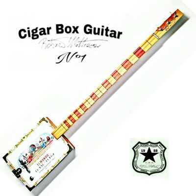 Cigar Box Guitar mod. El Mundo, 3 corde, pick-up piezoelettrico tastiera slide.