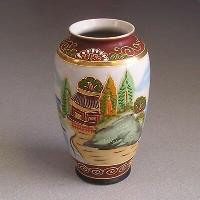"Gold Castle  handpainted Japanese oriental vase 5"" Tall Raised detailed Paint"