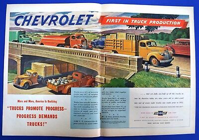 1945 Chevrolet Trucks Full Line Magazine Ad First in Truck Production 2 page ad